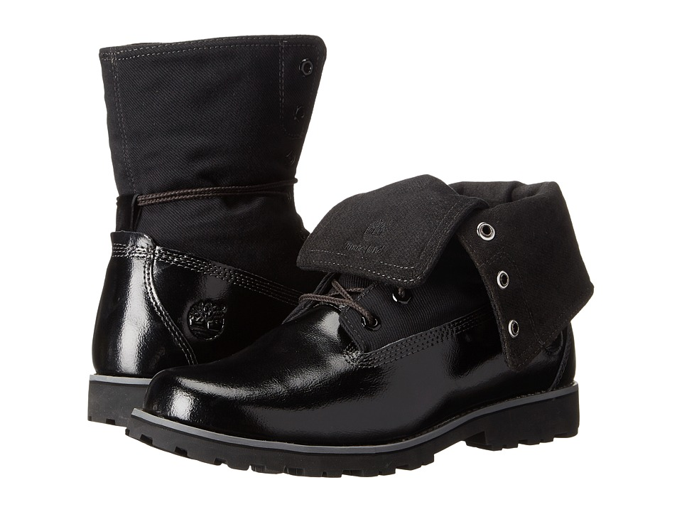 Timberland Kids - Authentics Velvet Fabric Fold (Big Kid) (Black Shine) Girls Shoes