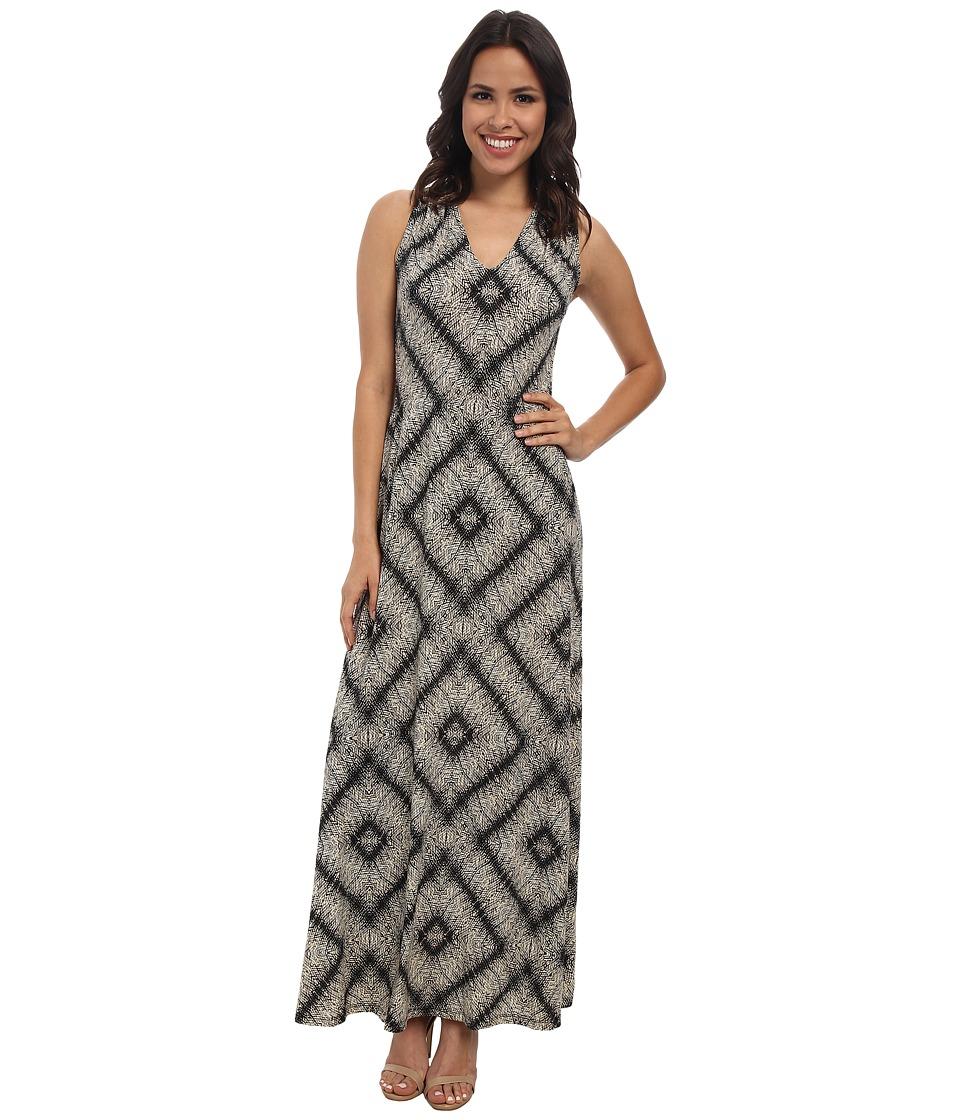 London Times - V-Neck Printed Sleeveless Maxi Dress (Black/Tan) Women