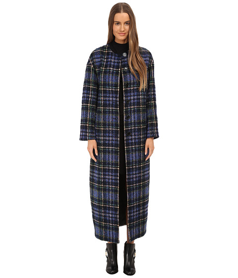 LOVE Moschino - Plaid Duster Coat (Blue) Women's Coat