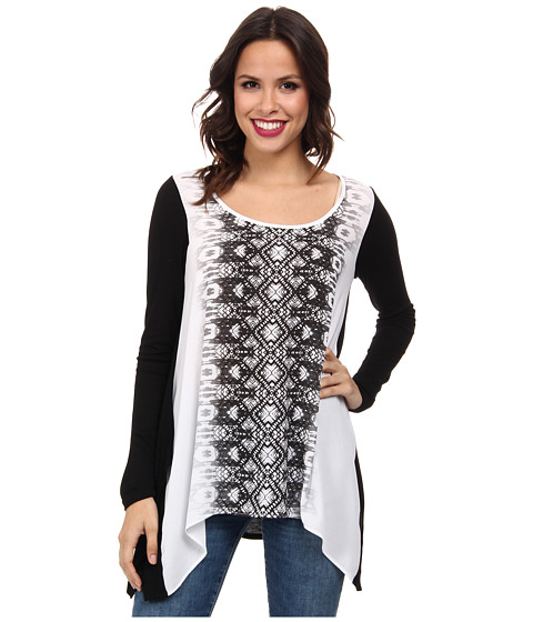 Karen Kane - Graphic Fade Out Top (Off White/Black) Women's Long Sleeve Pullover