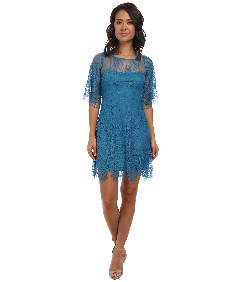 Alejandra Sky Evita Lace Dress (Teal) Women