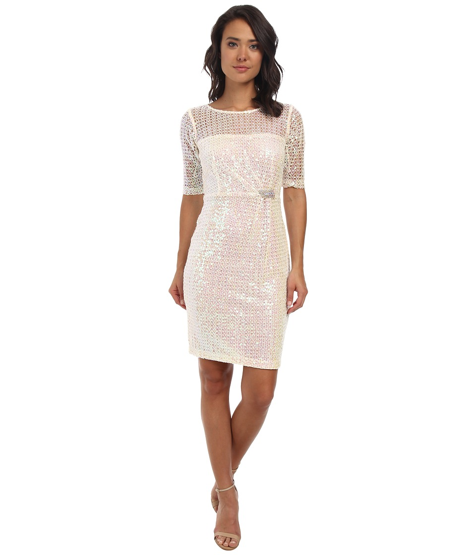 Alejandra Sky Fawn Sequin 3/4 Sleeve Dress (Ivory) Women