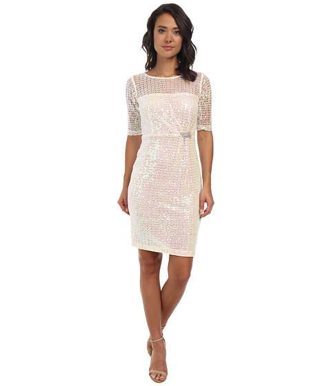 Alejandra Sky - Fawn Sequin 3/4 Sleeve Dress (Ivory) Women's Dress