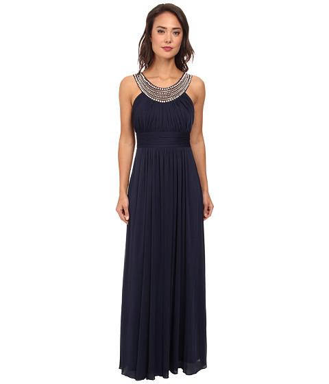 Alejandra Sky - Marcie Pearl Neckline Gown (Navy) Women