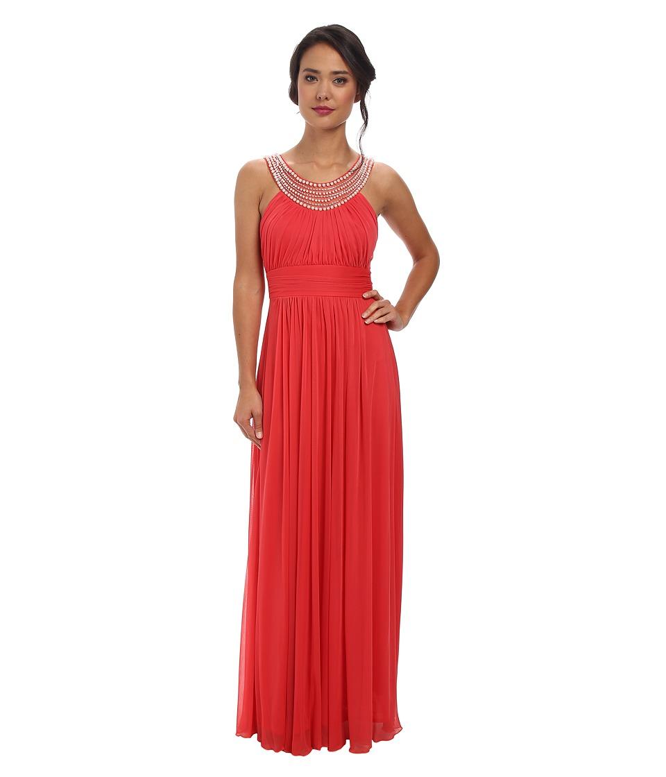Alejandra Sky - Marcie Pearl Neckline Gown (Coral) Women's Dress