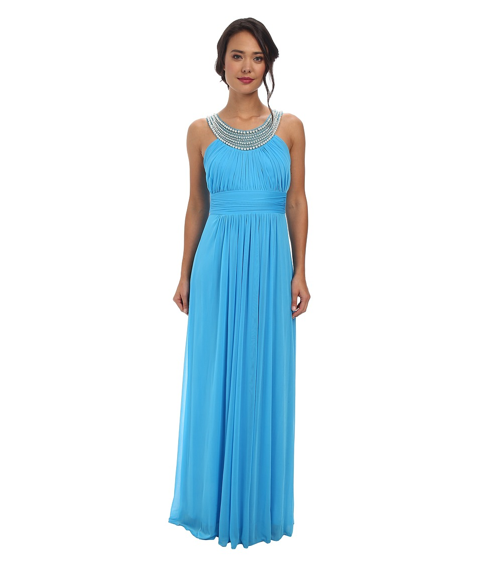 Alejandra Sky - Marcie Pearl Neckline Gown (Turquoise) Women's Dress