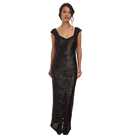 Alejandra Sky - Bridget Sequin Dress (Black/Nude) Women's Dress