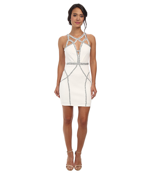 Alejandra Sky - Kendra Sparkle Cutout Dress (White) Women's Dress