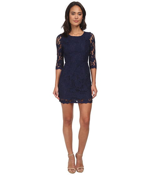 Alejandra Sky - Wendi 3/4 Sleeve Lace Dress (Navy) Women