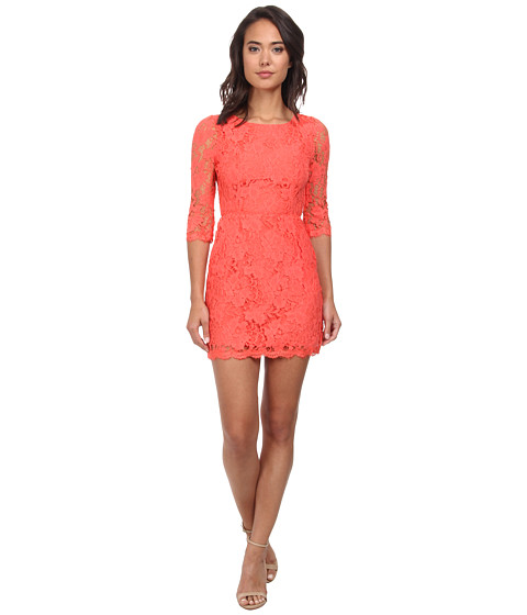 Alejandra Sky - Wendi 3/4 Sleeve Lace Dress (Neon Coral) Women
