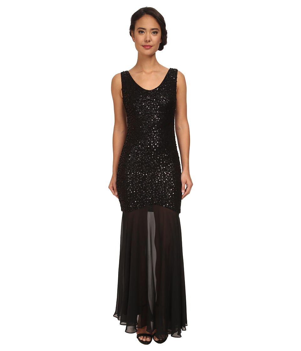 Alejandra Sky Esmeralda Sequin Long Gown (Black) Women