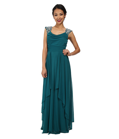 Alejandra Sky - Malinda Rhinestone Shoulder Gown (Green) Women's Dress