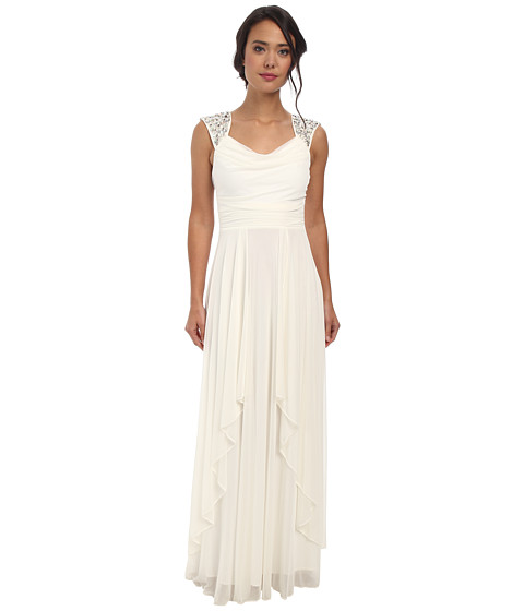 Alejandra Sky - Malinda Rhinestone Shoulder Gown (Ivory) Women's Dress
