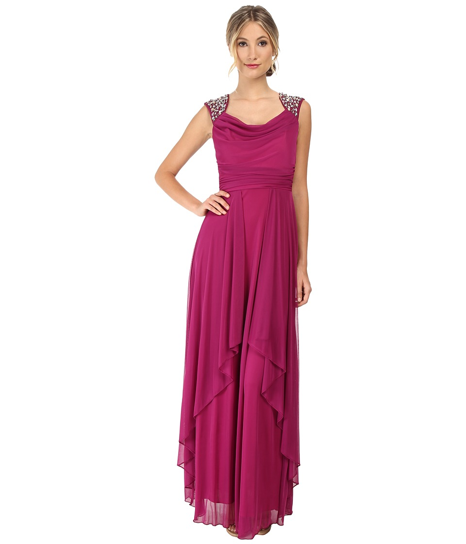 Alejandra Sky - Malinda Rhinestone Shoulder Gown (Magenta) Women's Dress