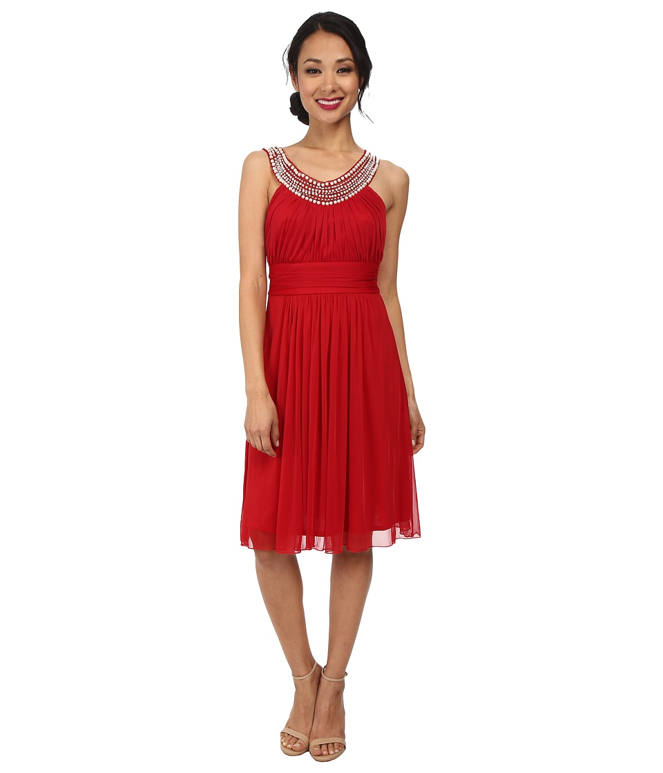 Alejandra Sky Crystal Pearl Neckline Short Dress (Red) Women