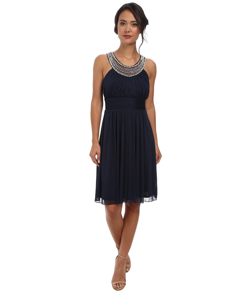 Alejandra Sky Crystal Pearl Neckline Short Dress (Navy) Women