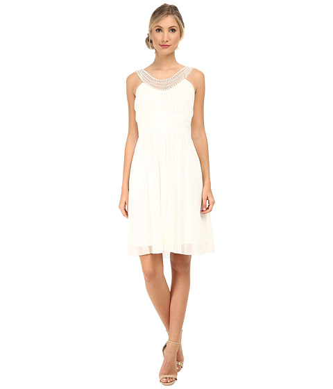 Alejandra Sky - Crystal Pearl Neckline Short Dress (Ivory) Women's Dress