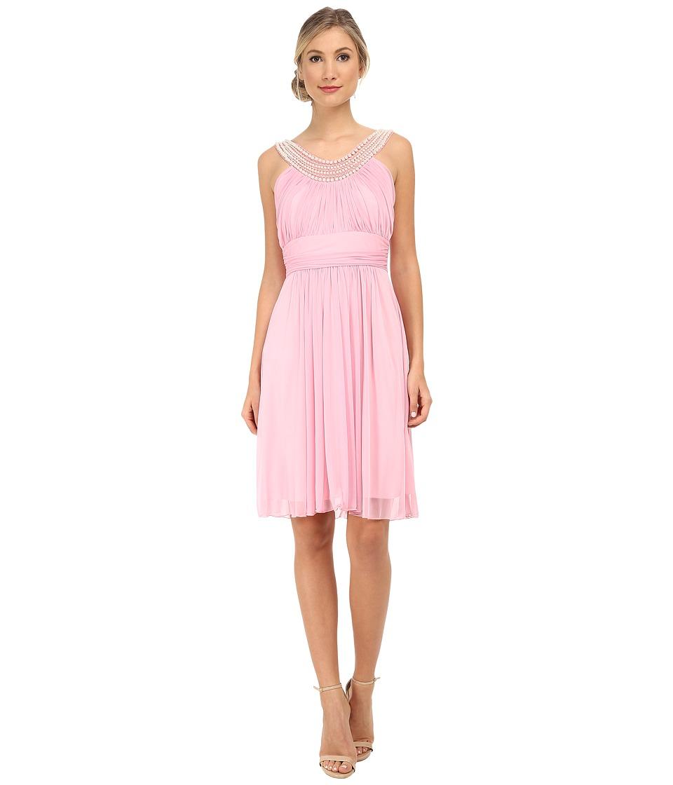 Alejandra Sky - Crystal Pearl Neckline Short Dress (Rose Pink) Women