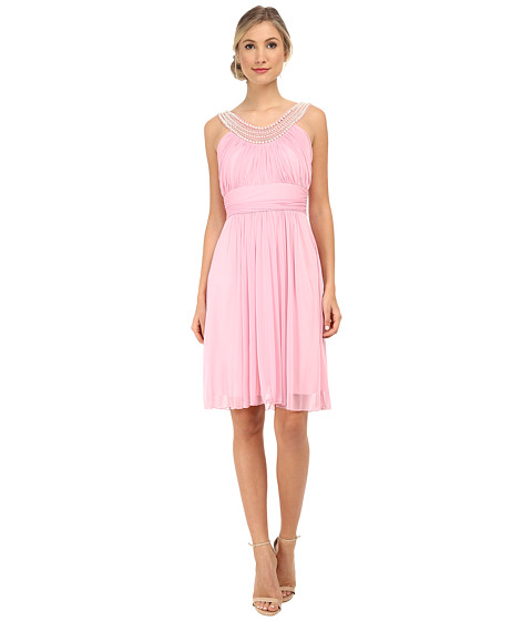 Alejandra Sky - Crystal Pearl Neckline Short Dress (Rose Pink) Women's Dress