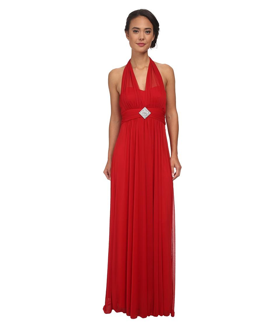 Alejandra Sky - Darcy Chiffon Halter Gown (Red) Women's Dress