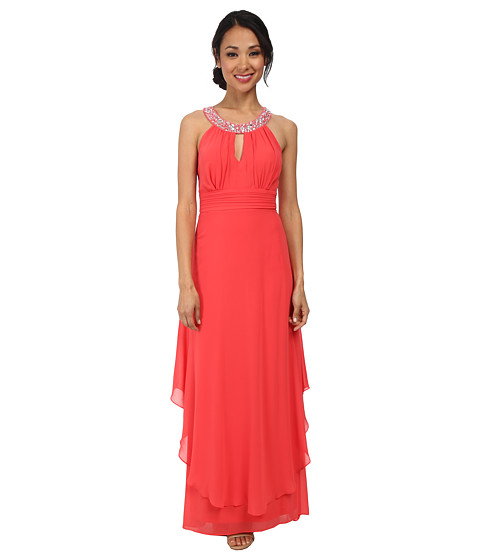 Alejandra Sky - Nessa Rhinestone Collar Gown (Coral) Women's Dress