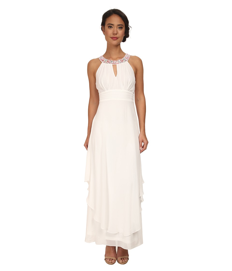 Alejandra Sky - Nessa Rhinestone Collar Gown (Ivory) Women's Dress