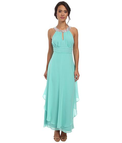Alejandra Sky - Nessa Rhinestone Collar Gown (Mint) Women's Dress