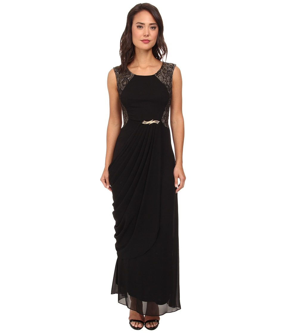 Alejandra Sky - Blanca Lace Back Dress (Black/Gold) Women's Dress