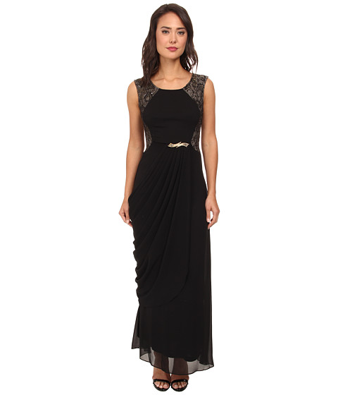 Alejandra Sky - Blanca Lace Back Dress (Black/Gold) Women