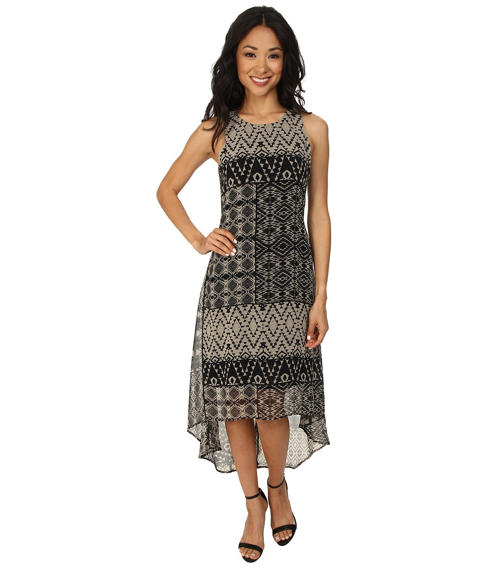 Karen Kane - Pueblo Print Hi-Lo Hem Dress (Black/Khaki) Women