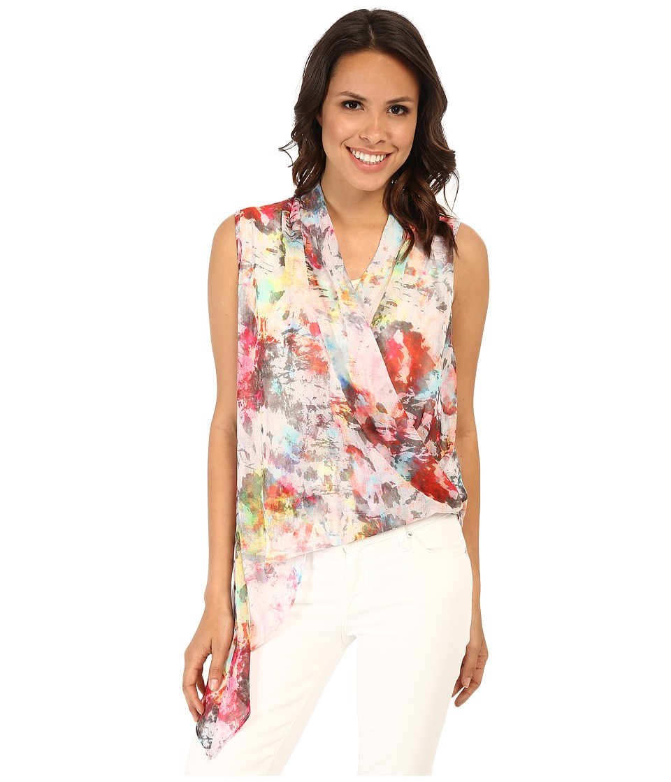 Karen Kane - Watercolor Asymmetrical Hem Top (Print) Women's Blouse