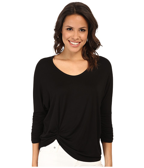 Karen Kane - Shirred Sleeve Pick Up Top (Black) Women's Long Sleeve Pullover