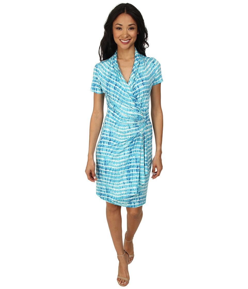 Karen Kane - Tie-Dye Cascade Wrap Dress (Print) Women