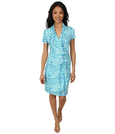 Karen Kane - Tie-Dye Cascade Wrap Dress (Print) Women's Dress