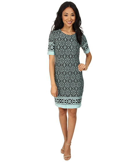 Karen Kane - Jacquard Border Dress (Turquoise) Women