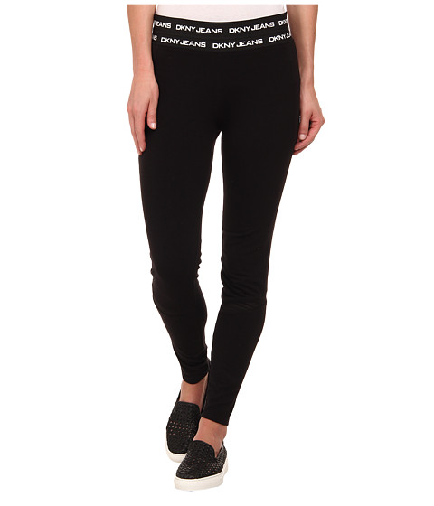 DKNY Jeans - Logo Elastic Leggings in Noir (Noir) Women's Casual Pants