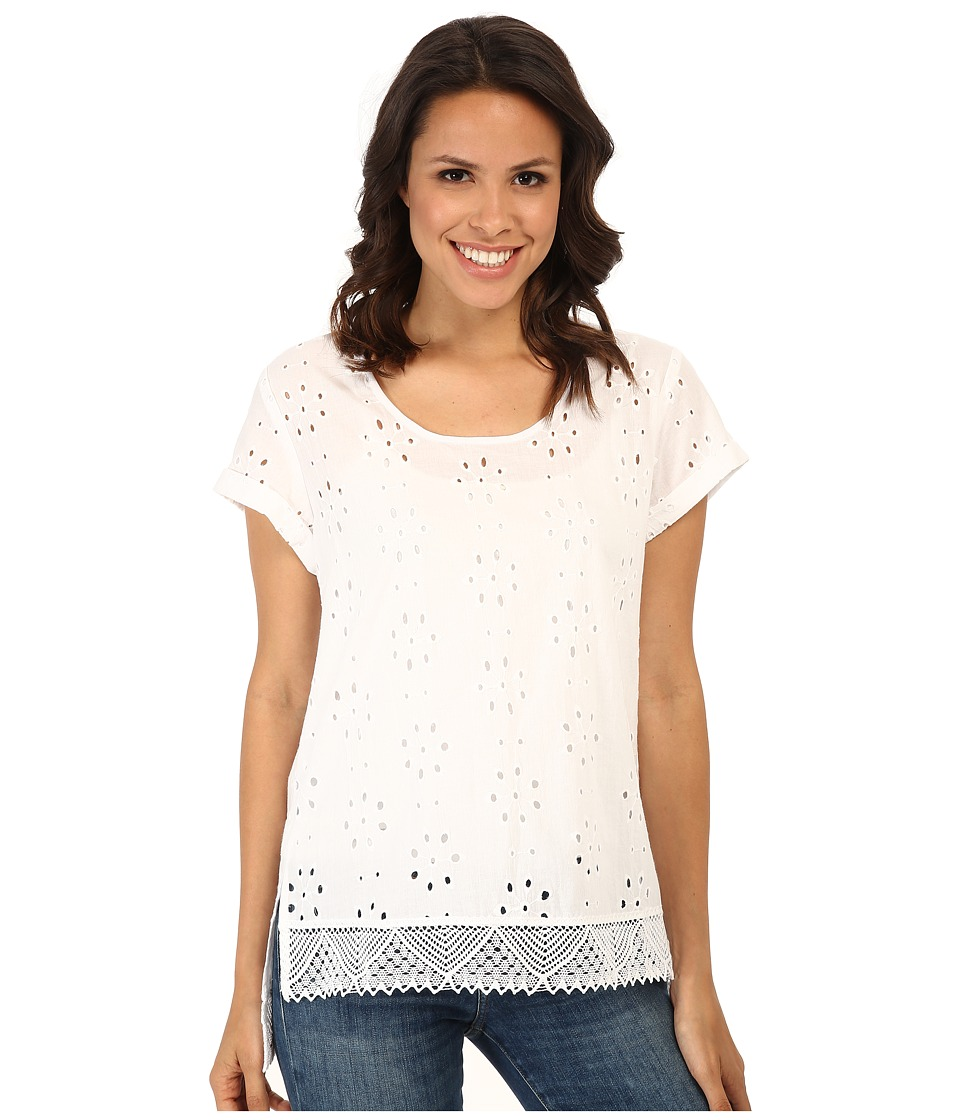 Karen Kane Eyelet Lace Tee (Off White/Black) Women