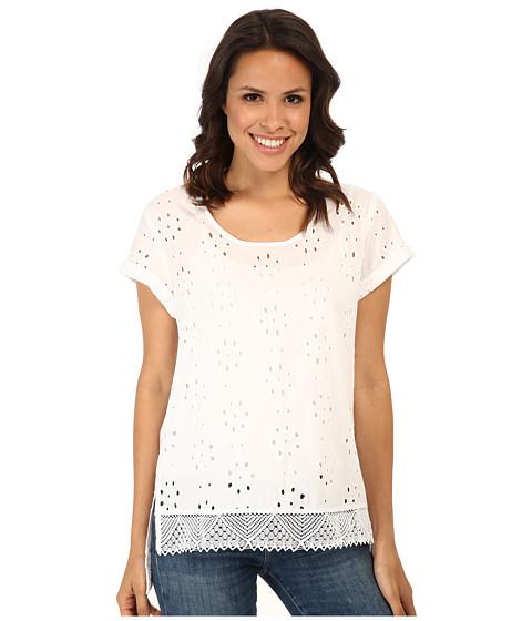 Karen Kane - Eyelet Lace Tee (Off White/Black) Women's T Shirt