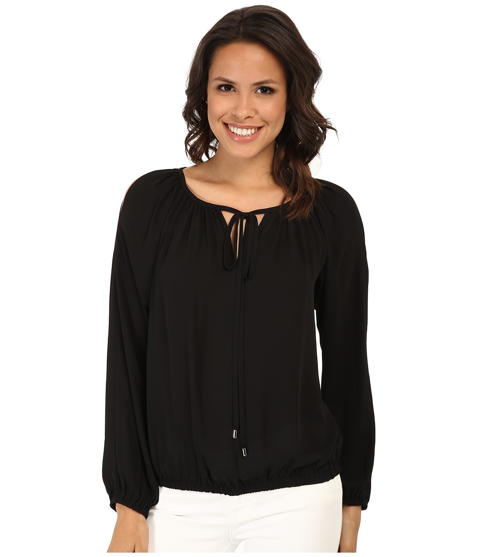 Karen Kane - Cold Shoulder Tie Top (Black) Women's Long Sleeve Pullover