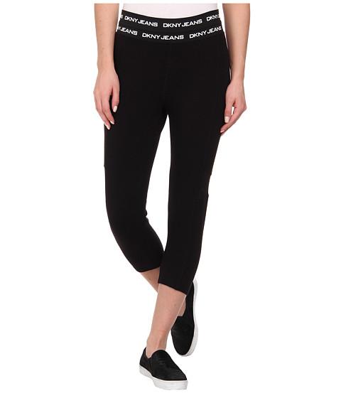 DKNY Jeans - Cropped Leggings with Mesh in Noir (Noir) Women's Casual Pants