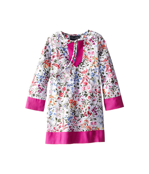 Oscar de la Renta Childrenswear - English Garden Cotton Caftan (Toddler/Little Kids/Big Kids) (Optic White/Watermelon) Girl