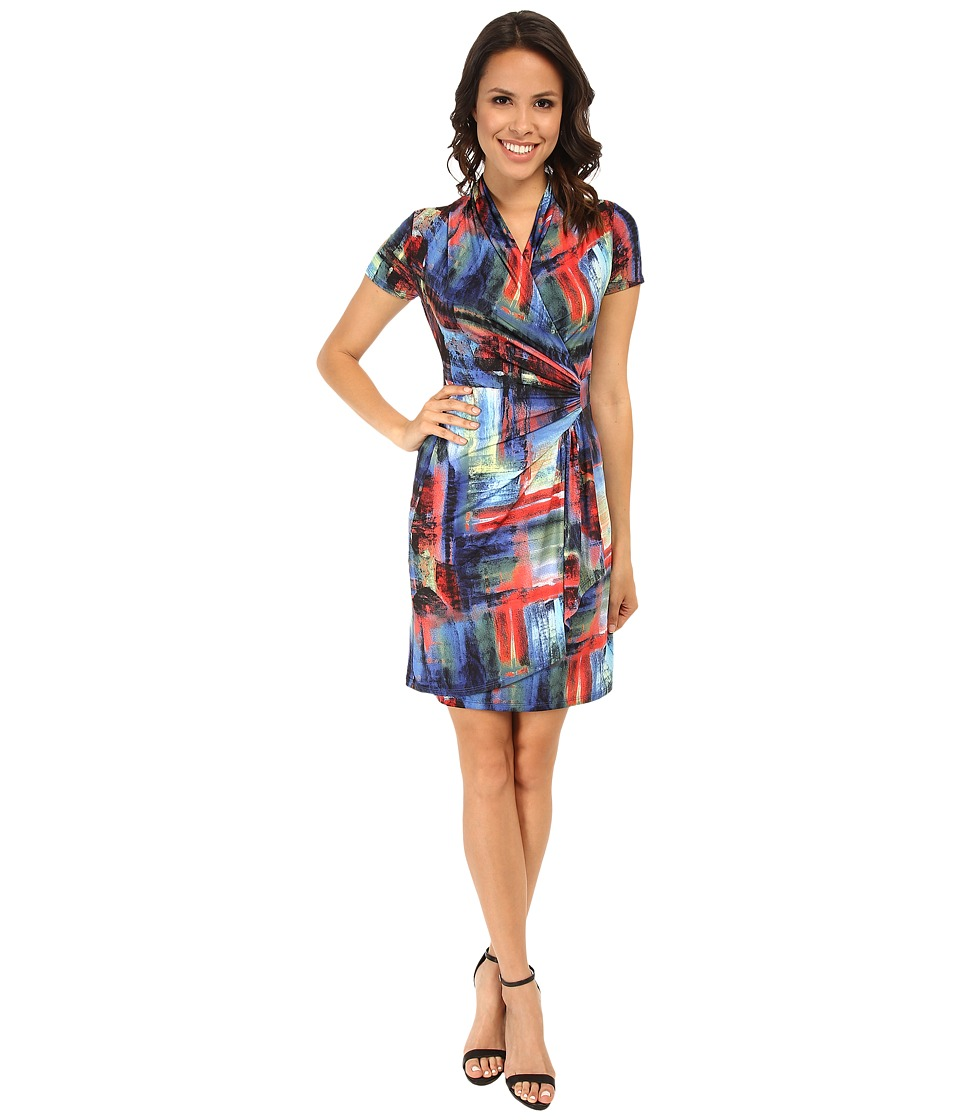 Karen Kane - Painted Canvas Wrap Dress (Print) Women's Dress