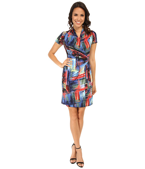 Karen Kane - Painted Canvas Wrap Dress (Print) Women