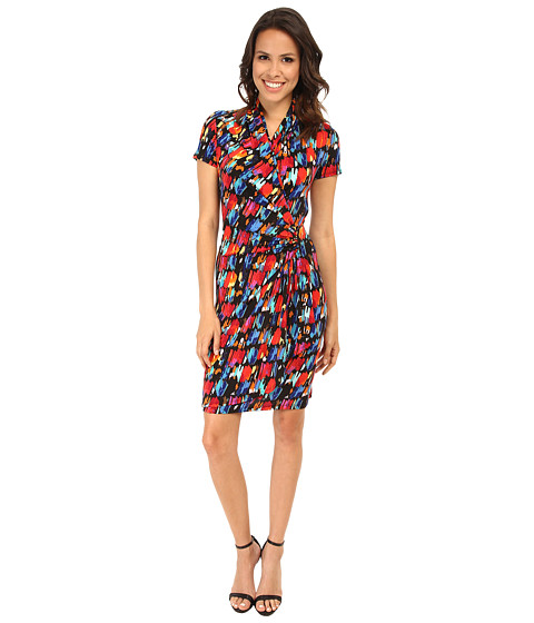 Karen Kane - Paint Print Cascade Wrap Dress (Print) Women's Dress