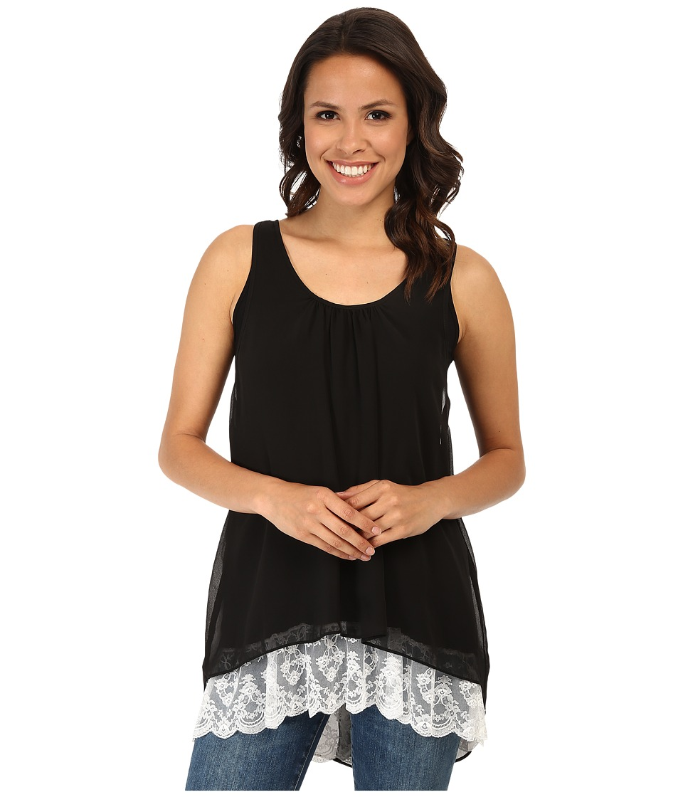Karen Kane - Lace Hem Tank Top (Black) Women's Sleeveless