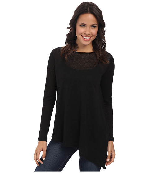 Karen Kane - Linen Slub Assymetrical Top (Black) Women's Long Sleeve Pullover