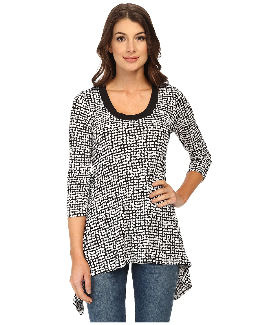 Karen Kane - 3/4 Sleeve Handkerchief Top (Black) Women's Blouse