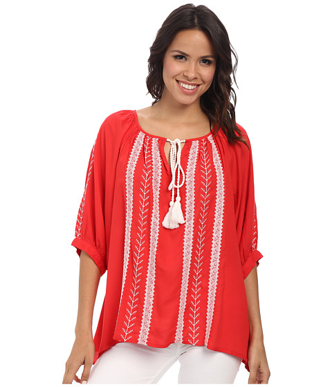 Karen Kane - Embroidered Tassel Tie Top (Lipstick) Women's Blouse
