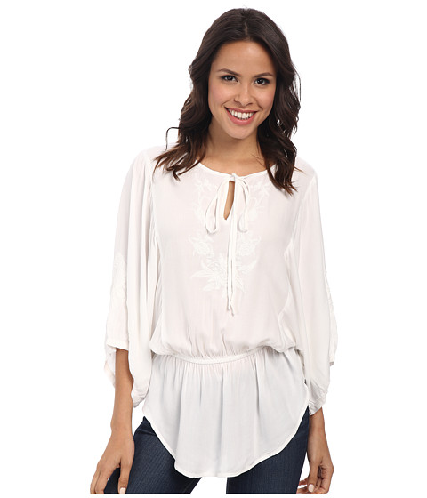 Karen Kane - Embroidered Sleeve Drawstring Top (Off White) Women's Blouse
