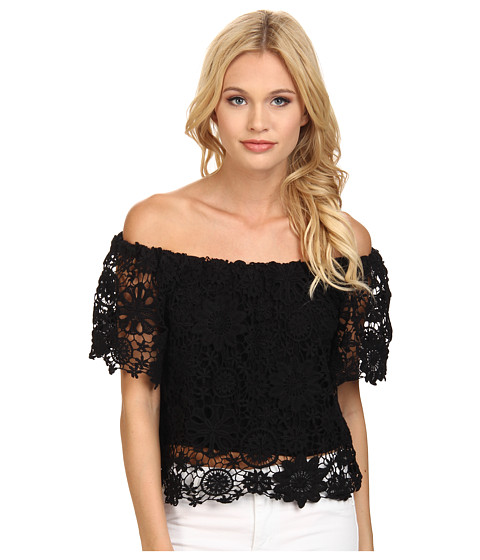 Nightcap - Caribbean Crochet Crop Blouse (Black) Women's Blouse
